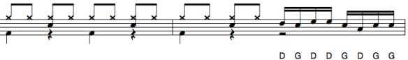 Exemple de fill avec un doigté de paradiddle sur les toms