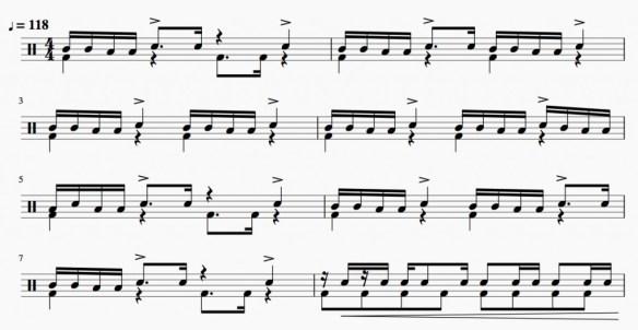 Rythme de batterie du passage de toms du morceau Time Is Running Out du groupe Muse