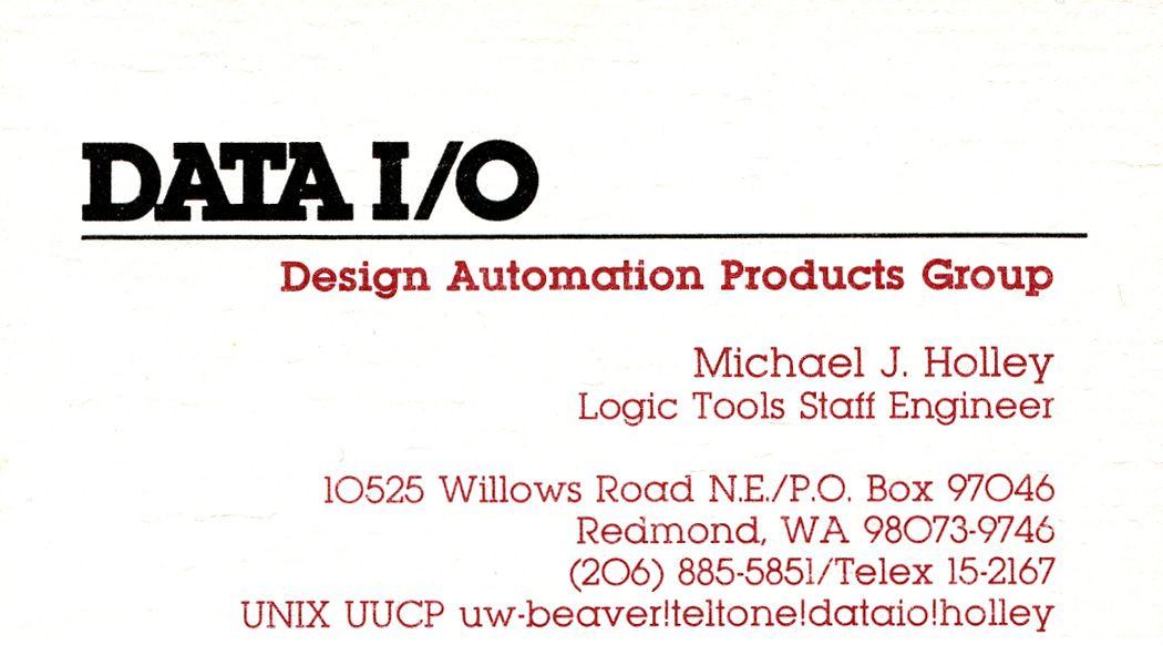 Business card featuring UUCP address