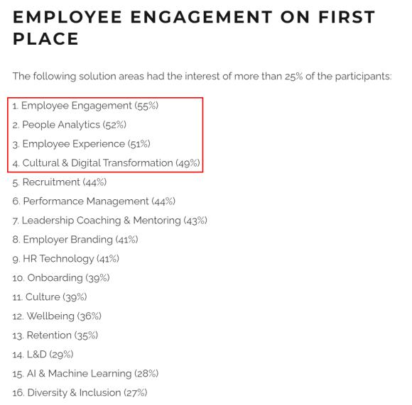 글로벌 HR 전문가들의 관심사는 위와 같았습니다.