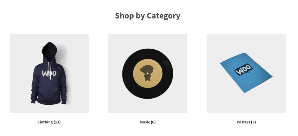 Vente en ligne - Produits rangés par catégories