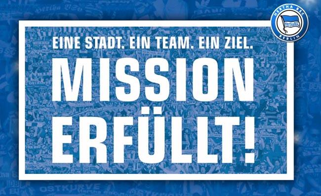 Mission erfüllt - Hertha Aufstieg
