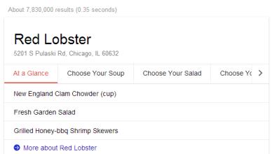 Menus de restaurants dans les résultats Google Search
