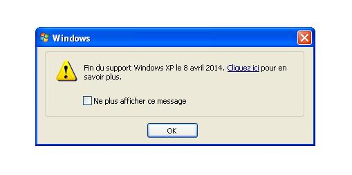 Message d'arrêt du support de Windows XP