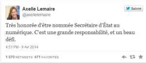 Tweet Axelle Lemaire