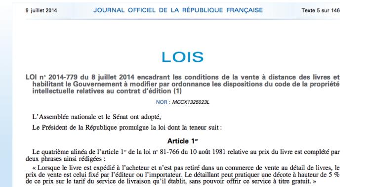 La loi anti Amazon est entrée en vigueur le 8 Juillet 2014