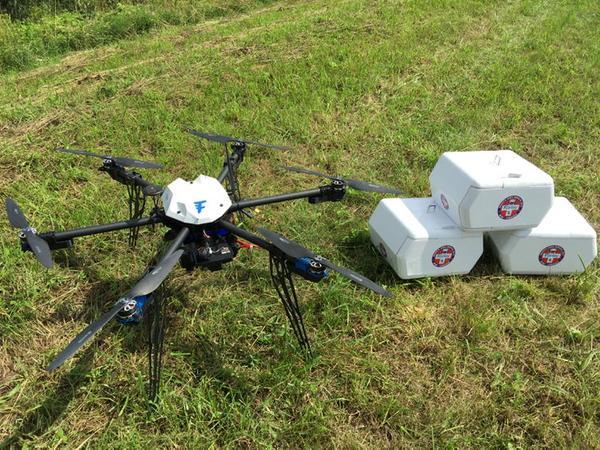Le premier drone à avoir effectué une livraison de médicaments.