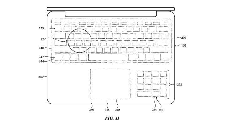 """Schéma du brevet """"Zero Travel"""" : vue du clavier MacBook de dessus"""