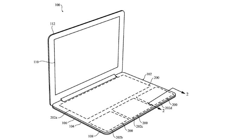 """Alt : schéma du brevet """"Zero Travel"""" pour concevoir un clavier tactile pour MacBook : vue globale"""