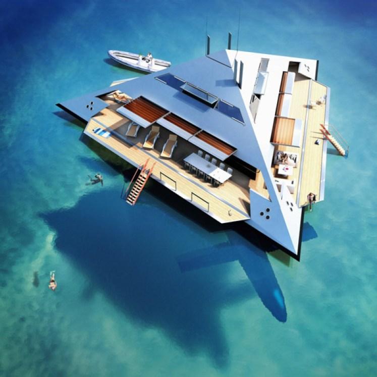 Une fois que le yacht s'arrête en plein milieu de l'océan, l'habitacle s'ouvre et laisse place à un véritable petit îlot