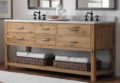 double washstand in reclaimed white oak from restoration hardware