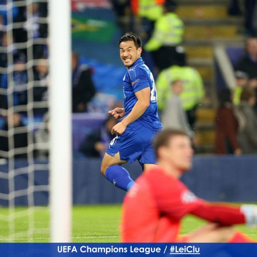 Shinji Okazaki celebrates after breaking the deadlock at Leicester City Stadium