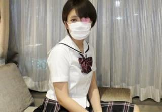 【無修正】18歳のショートカット激カワがロリマン使って膣内射精アルバイト