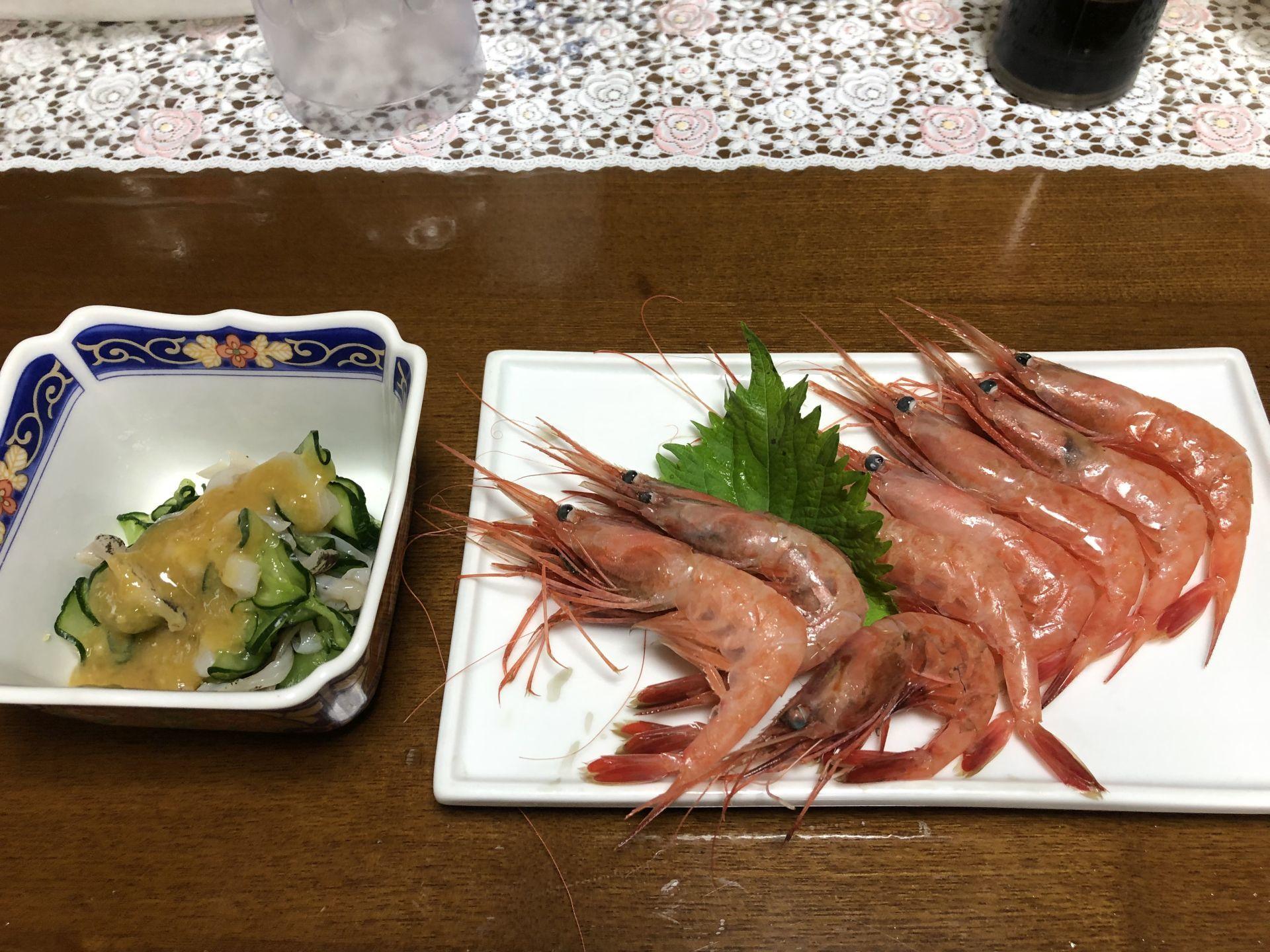 昨日の晩御飯 - 真鯛とイカの一本釣り