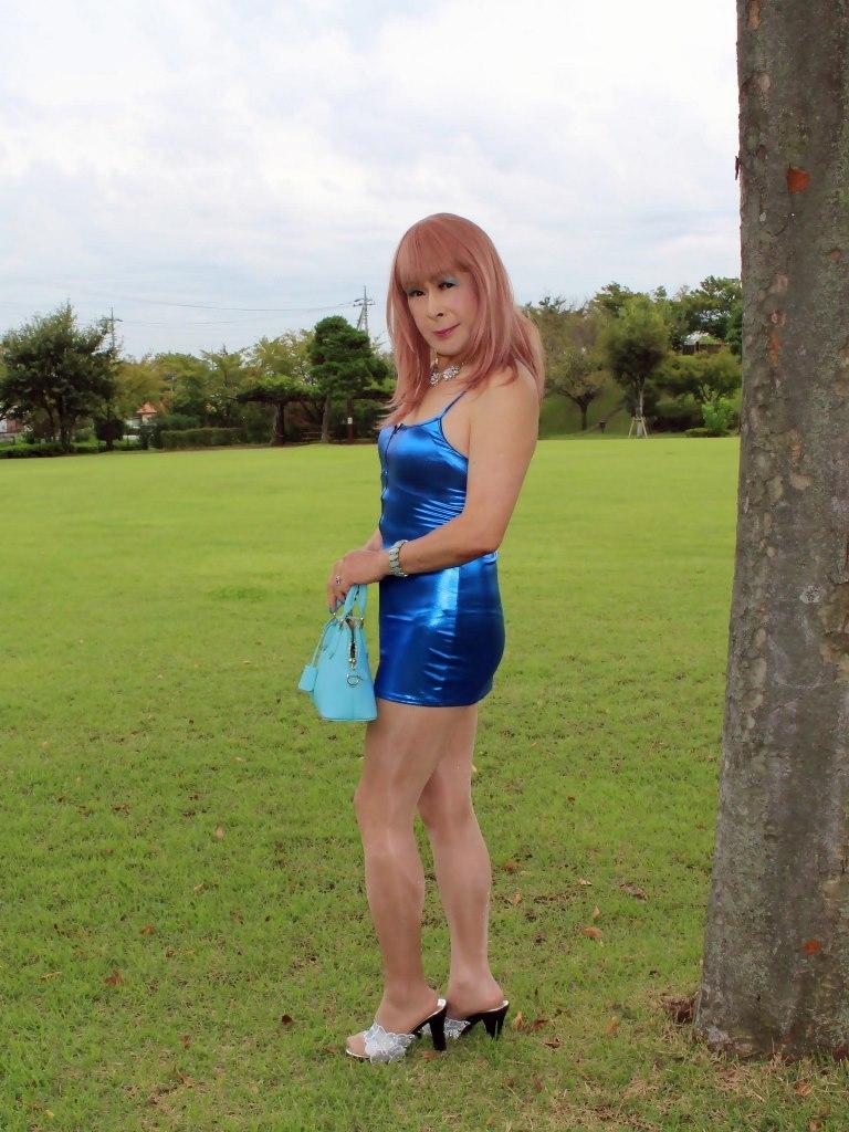 青色ボディコンミニワンピC(3)