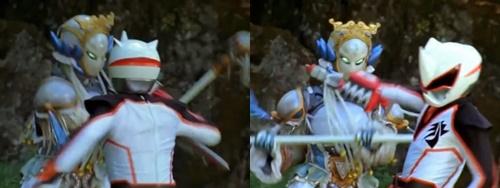 白い戦隊ヒーロー、ゲキチョッパーが苦戦してやられる