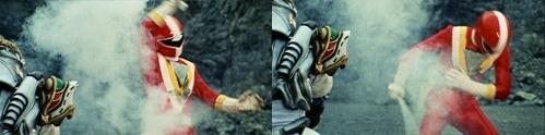 戦隊ヒーロー、ファイブレッドが敵の剣でやられてスーツ爆発