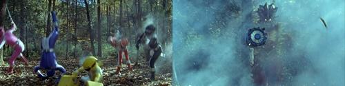戦隊ヒーローのボウケンジャーがやられてスーツが爆発