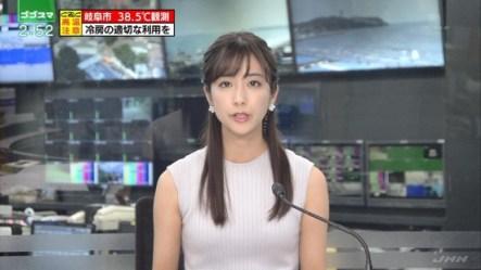 セクシーなニットのノースリーブでニュースを読む田村真子!
