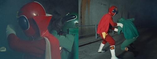 戦隊ヒーロー「ゴレンジャー」のアカレンジャーとミドレンジャーが毒ガスにやられる。