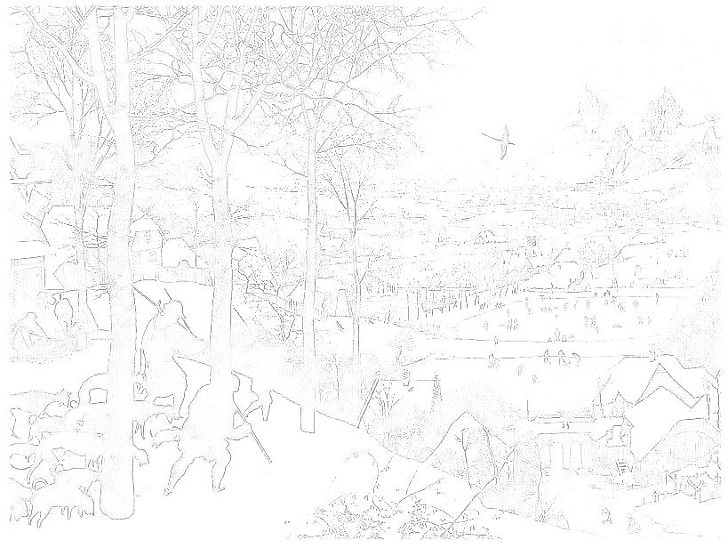 ピーテル・ブリューゲルの大人の塗り絵 「雪の中の狩人」 ぬり絵