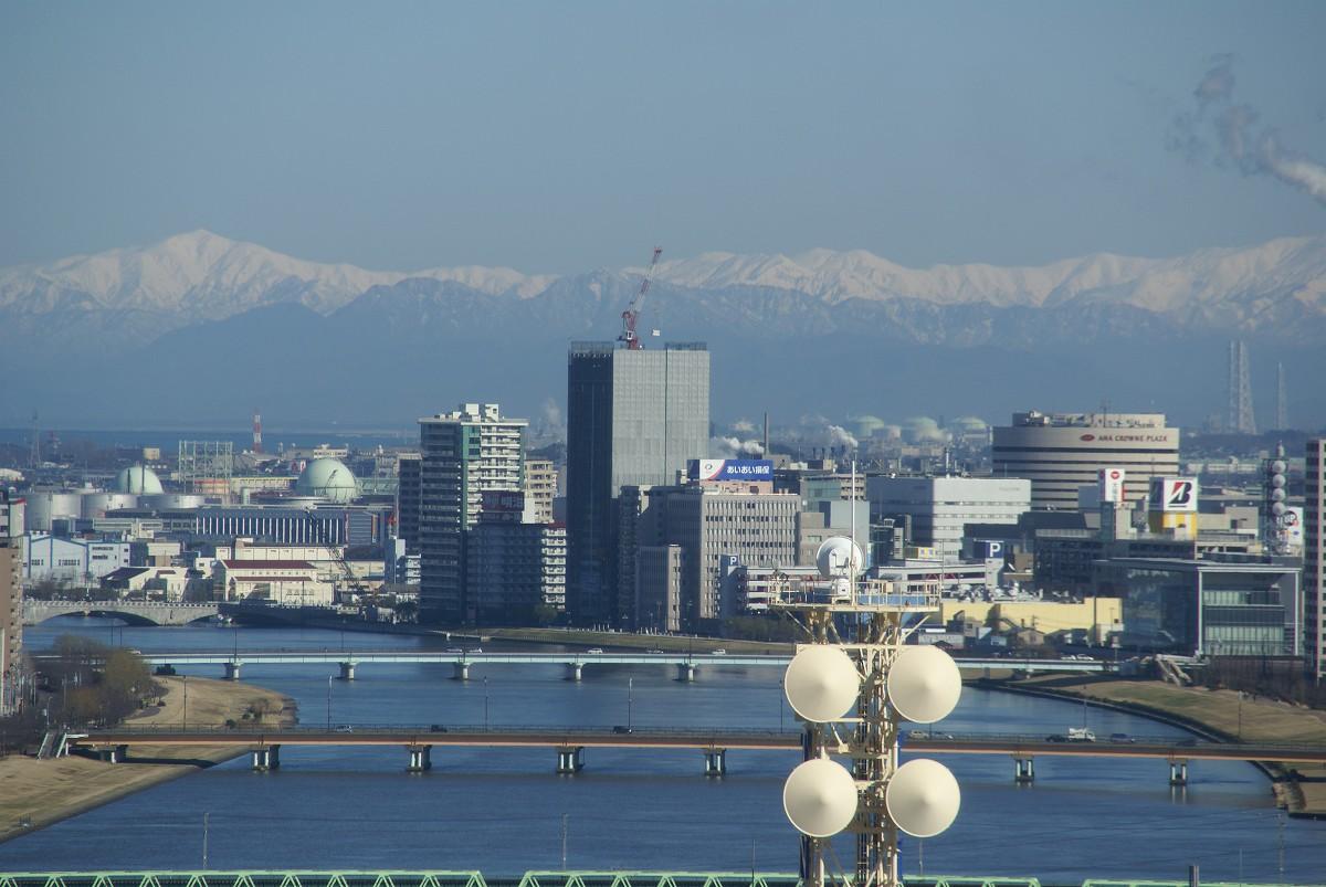 新潟定點観測 2008年12月中旬,新潟県庁展望臺より