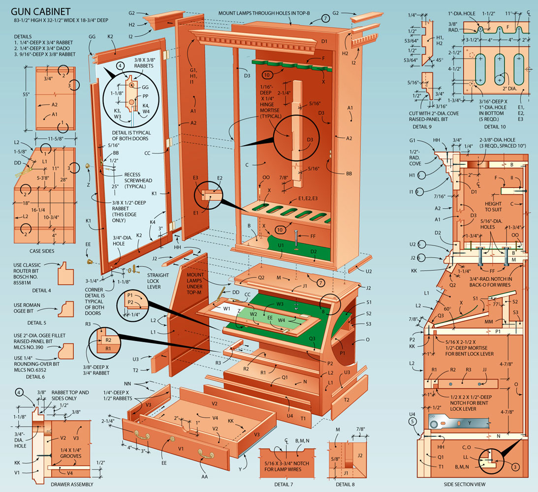Pdf plans free gun cabinet designs download fine for Create blueprints online free