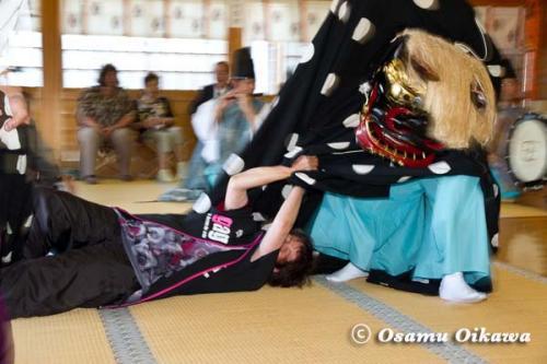 鹿部稲荷神社宵宮祭 2012 松前神楽 十二の手獅子舞五方