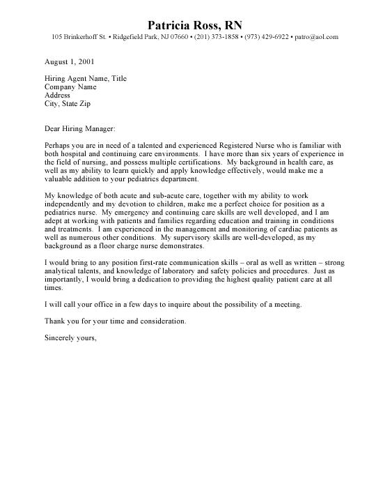 Nursing Resume Cover Letters