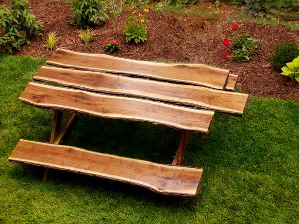 wood log picnic table plans