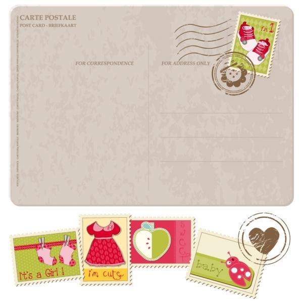 郵便ハガキと切手のイラスト cartoon postcards stamps