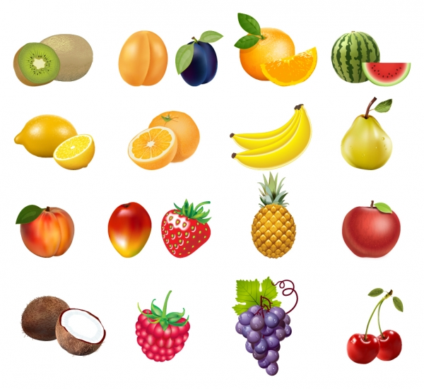 瑞々しい果物のクリップアート Vector icon Set of Fruits