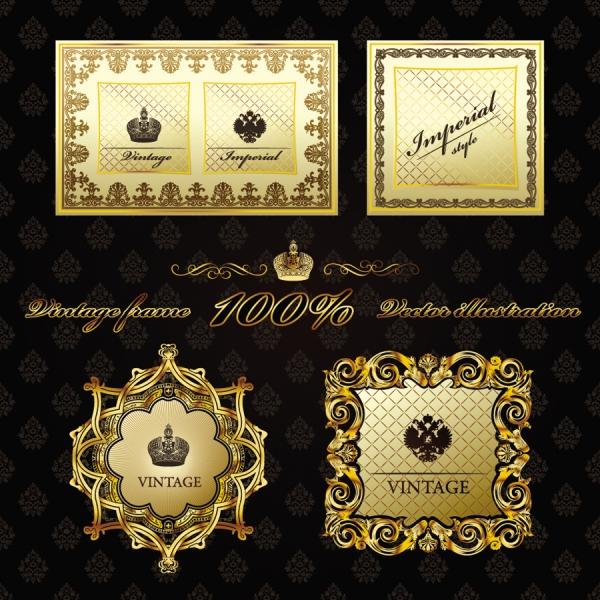 豪華な金色レース飾りのラベル デザイン gorgeous border european classical pattern 2