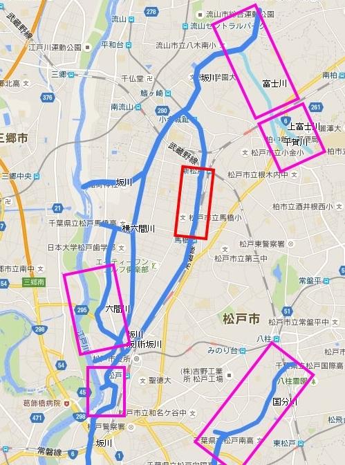 HSFによる松戸市坂川流域の放射線量マップ(4) 馬橋・新坂川坂川周辺 - 子どもを放射能からまもる會in千葉