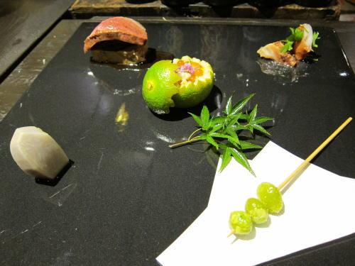 前菜5種(銀杏・小芋・いくら・鴨・タコ)