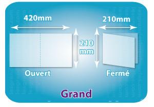 Dépliants / Plaquettes ouvert 420x210mm - fermé 210x210mm carré plié 1 pli type de pliage