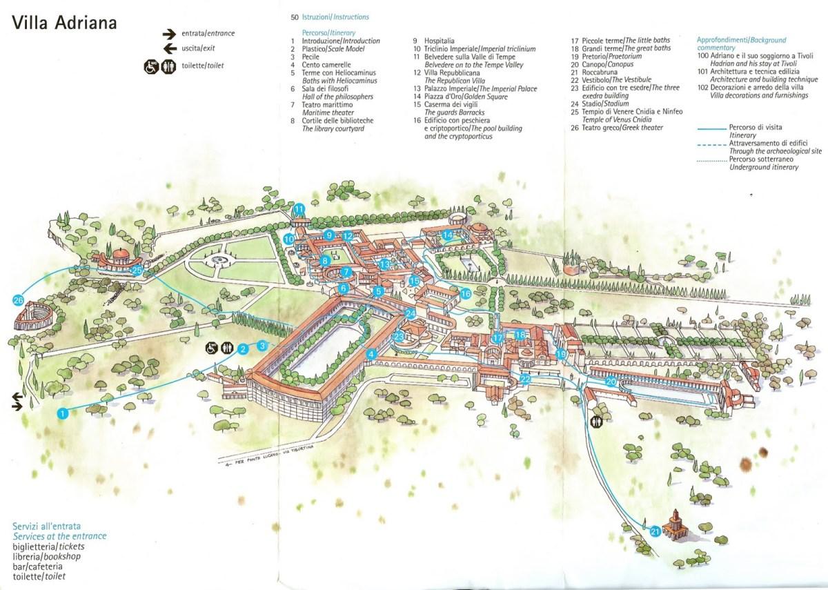 Resultado de imagen de villa adriana map