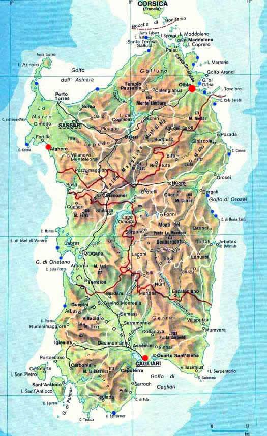 Mapa de Cerdea  Gua Blog Italia