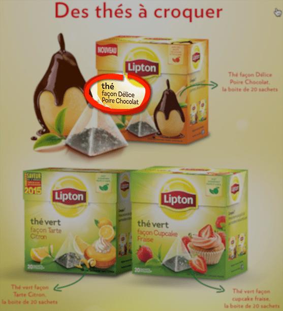 Thé aromatisé Lipton poire chocolat