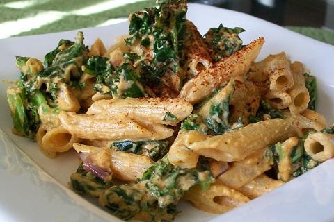Vegan Spicy Creamy Kale Pasta