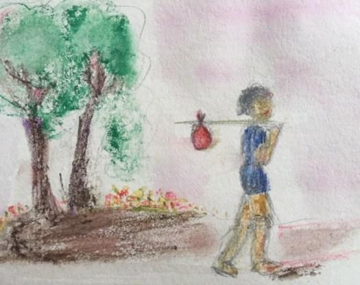 Marie G croquis rapide crayons aquarelle