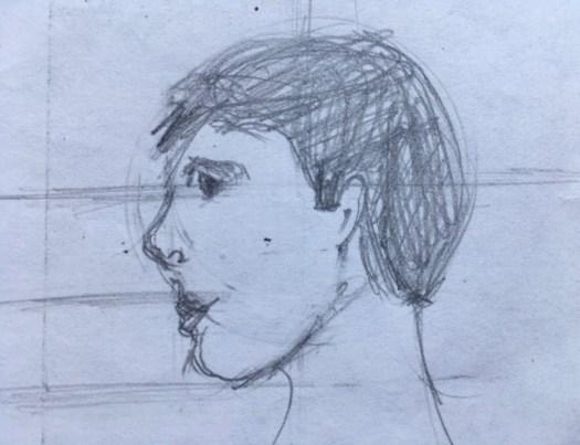croquis profil garçon au crayon, Marie Gauthier
