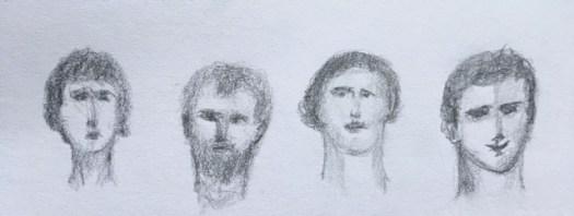 Quatre tête dessiner au crayon à mine grasse, Marie gauthier
