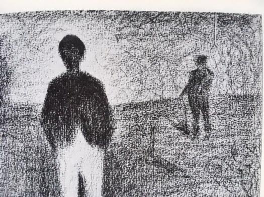 oeuvre de Seurat, deux hommes marchant dans le champs, crayon