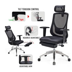 Ergonomic Chair With Footrest Portable Fabric High Buying Guide 123ink Ca Canada Moustache Adjustable Office Mesh