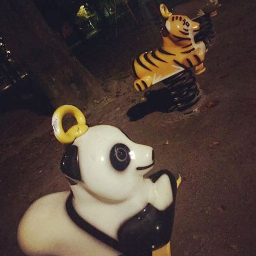 ウォーキングしてて、公園で見つけた(笑)手前から、パンダ・トラ・コアラです。 #公園 #遊具 #パンダ #トラ #コアラ