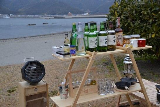 キャンプ 自作 棚 酒 作業用