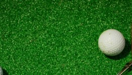 golf iron next to golf ball