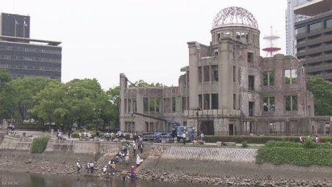 広島 原爆ドームの破片引き上げ