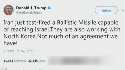 米大統領 イランの弾道ミサイル発射実験を非難